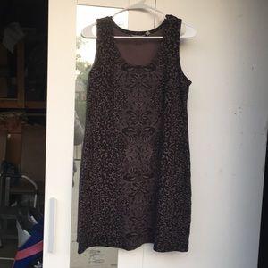 Athleta stretch dress grey black leopard